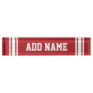 Red Sports Jersey with Your Name and Number Name Plate