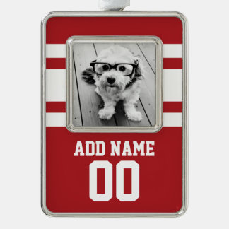 Red Sports Jersey with Your Name and Number Silver Plated Framed Ornament
