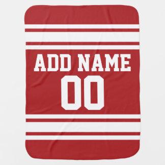 Red Sports Jersey with Your Name and Number Receiving Blanket
