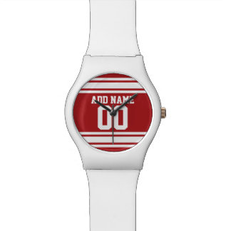 Red Sports Jersey with Your Name and Number Wristwatch