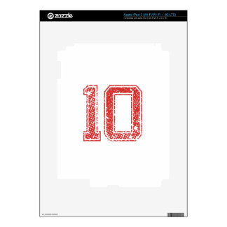 Red Sports Jerzee Number 10 iPad 3 Skins
