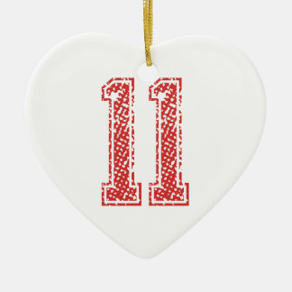Red Sports Jerzee Number 11 Ceramic Ornament