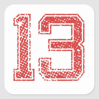Red Sports Jerzee Number 13 Square Sticker