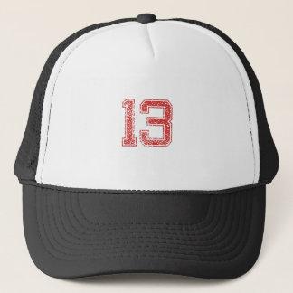 Red Sports Jerzee Number 13 Trucker Hat