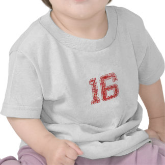 Red Sports Jerzee Number 16 T Shirts