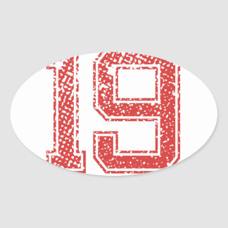 Red Sports Jerzee Number 19 Oval Sticker