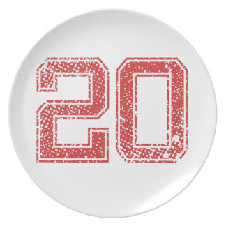 Red Sports Jerzee Number 20 Dinner Plate