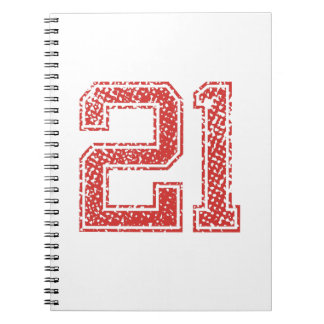 Red Sports Jerzee Number 21 Notebook