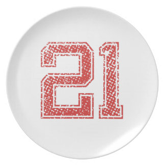 Red Sports Jerzee Number 21 Plate