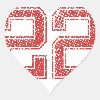 Red Sports Jerzee Number 22 Heart Sticker
