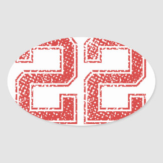 Red Sports Jerzee Number 22 Oval Sticker