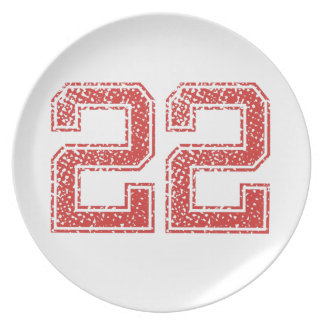 Red Sports Jerzee Number 22 Dinner Plates