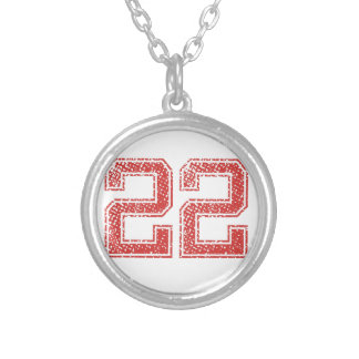 Red Sports Jerzee Number 22 Silver Plated Necklace