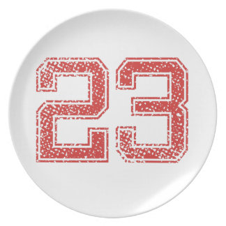 Red Sports Jerzee Number 23 Dinner Plates