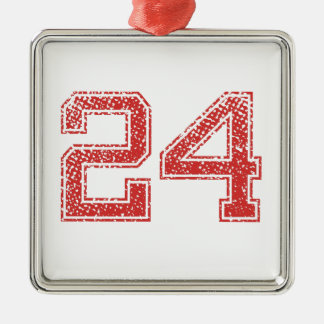 Red Sports Jerzee Number 24 Metal Ornament