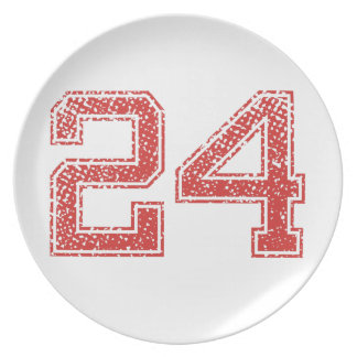 Red Sports Jerzee Number 24 Plate