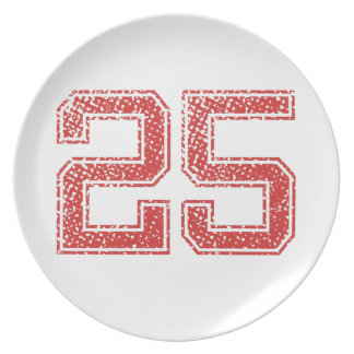 Red Sports Jerzee Number 25 Plate
