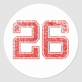 Red Sports Jerzee Number 26 Classic Round Sticker