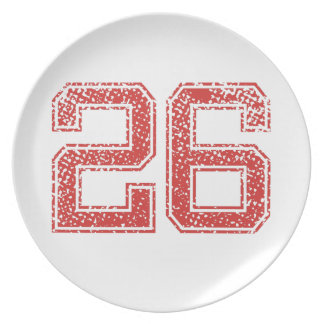 Red Sports Jerzee Number 26 Party Plates