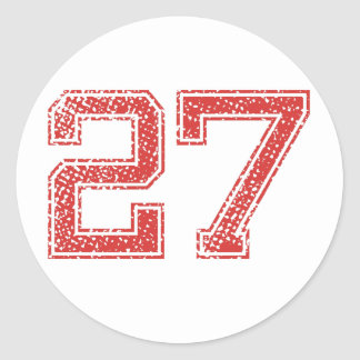 Red Sports Jerzee Number 27 Classic Round Sticker