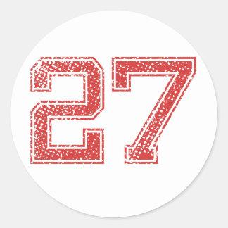 Red Sports Jerzee Number 27 Classic Round Sticker