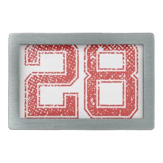 Red Sports Jerzee Number 28 Belt Buckle