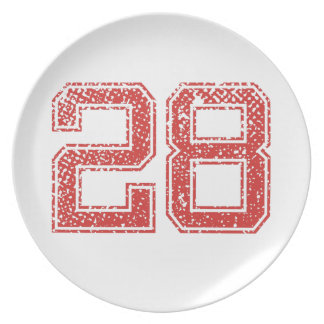 Red Sports Jerzee Number 28 Party Plates