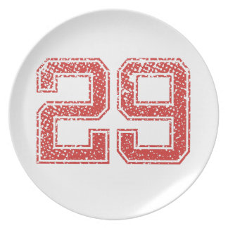 Red Sports Jerzee Number 29 Dinner Plates