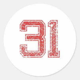 Red Sports Jerzee Number 31 Classic Round Sticker