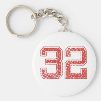 Red Sports Jerzee Number 32 Key Chain