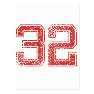Red Sports Jerzee Number 32 Postcard
