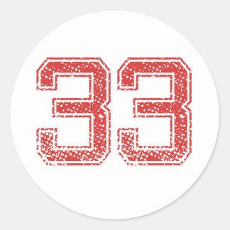 Red Sports Jerzee Number 33 Round Sticker