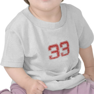 Red Sports Jerzee Number 33 Tshirts