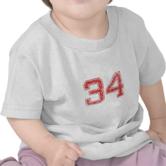 Red Sports Jerzee Number 34 Tee Shirts