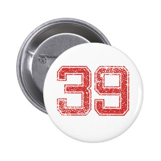 Red Sports Jerzee Number 39 Buttons