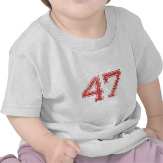 Red Sports Jerzee Number 47 Tshirts