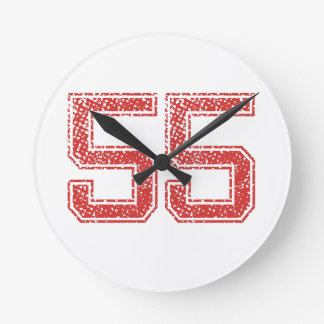 Red Sports Jerzee Number 55 Wall Clock