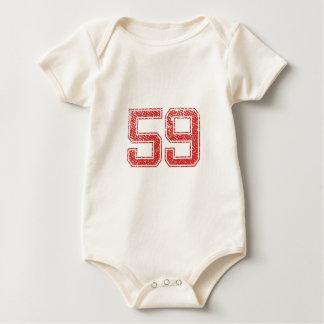Red Sports Jerzee Number 59 Baby Bodysuit