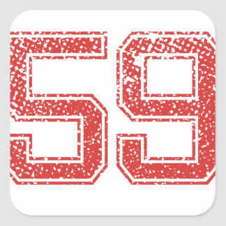 Red Sports Jerzee Number 59 Square Sticker