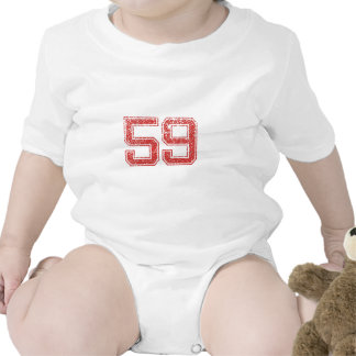 Red Sports Jerzee Number 59 Baby Bodysuits