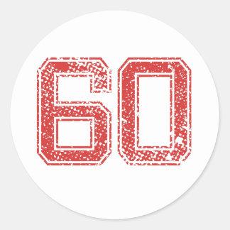 Red Sports Jerzee Number 60 Round Sticker