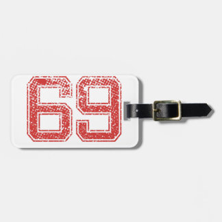Red Sports Jerzee Number 69 Luggage Tag