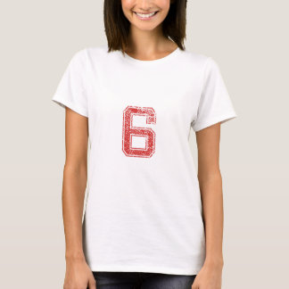 Red Sports Jerzee Number 6 T-Shirt