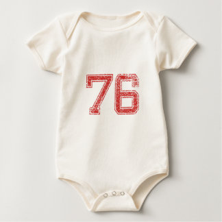 Red Sports Jerzee Number 76 Baby Bodysuit