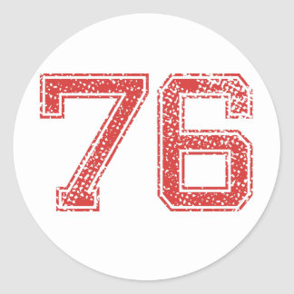 Red Sports Jerzee Number 76 Classic Round Sticker
