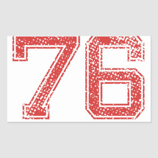 Red Sports Jerzee Number 76 Rectangular Sticker