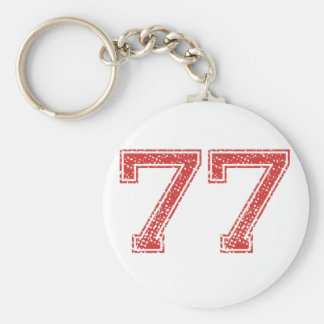 Red Sports Jerzee Number 77 Keychain