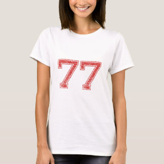 Red Sports Jerzee Number 77 T-Shirt
