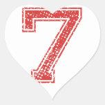 Red Sports Jerzee Number 7 Heart Sticker
