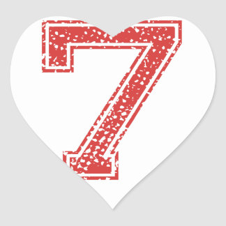 Red Sports Jerzee Number 7 Heart Sticker